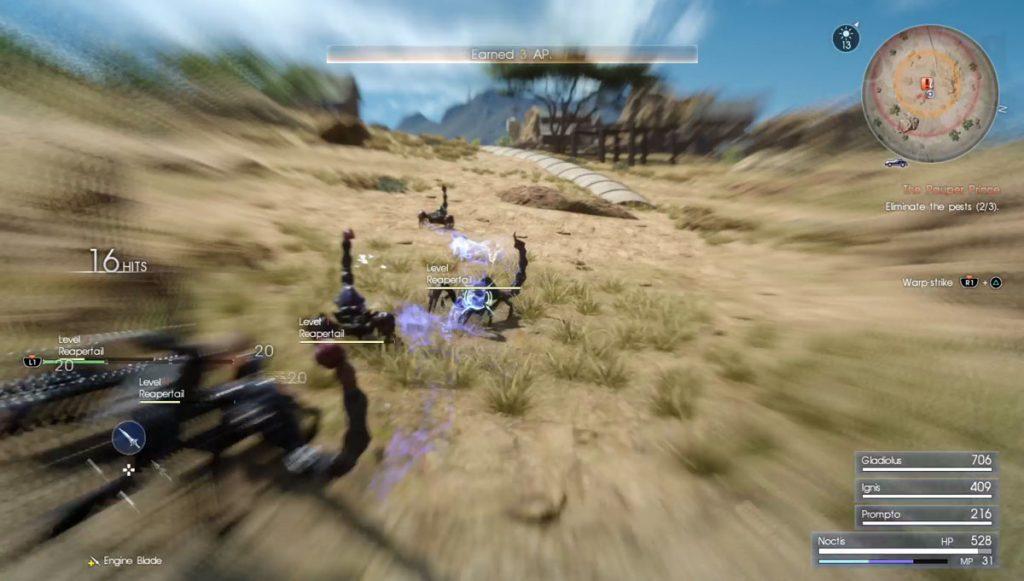 Using a warp strike in Final Fantasy XV