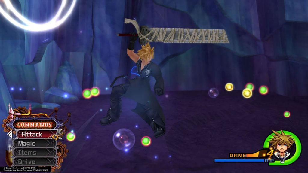 Cloud Swinging his Buster Sword at Heartless