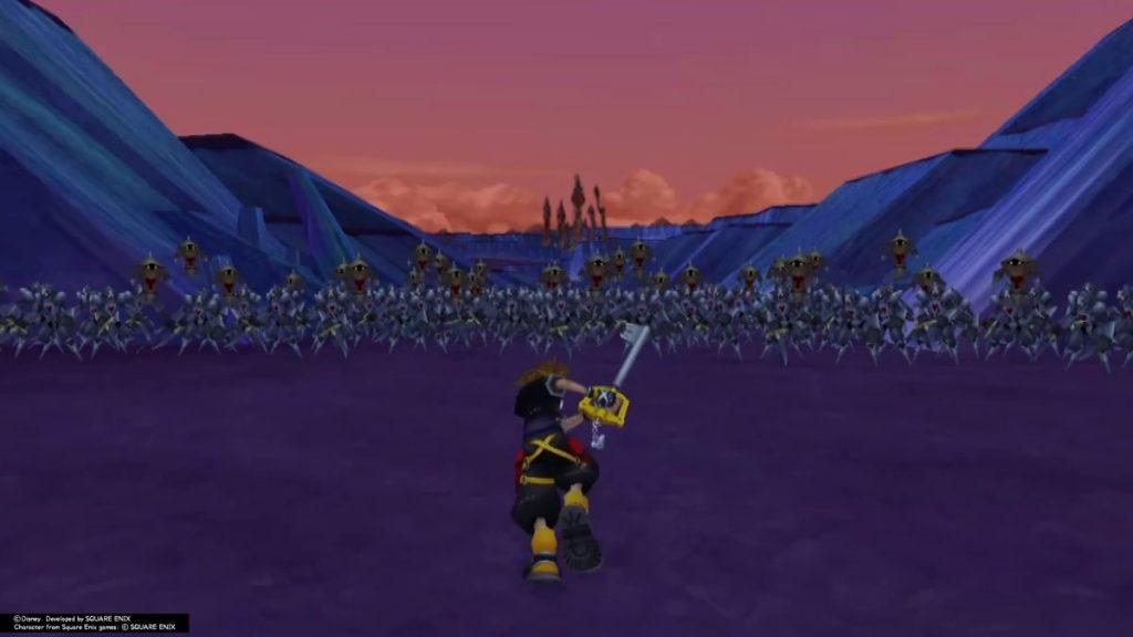 Sora rushing head on into battling 1000 heartless