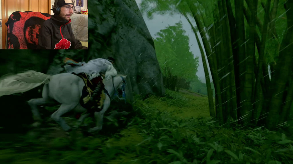 Jin Sakai riding a horse named Sora