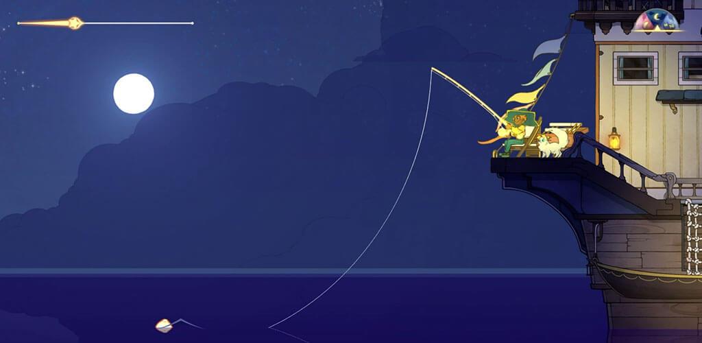 Fishing in SpiritFarer at Night