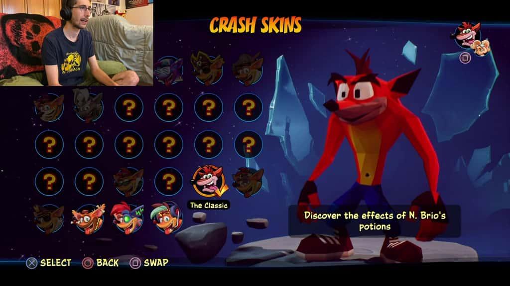 Crash 4 Skins Classic Crash