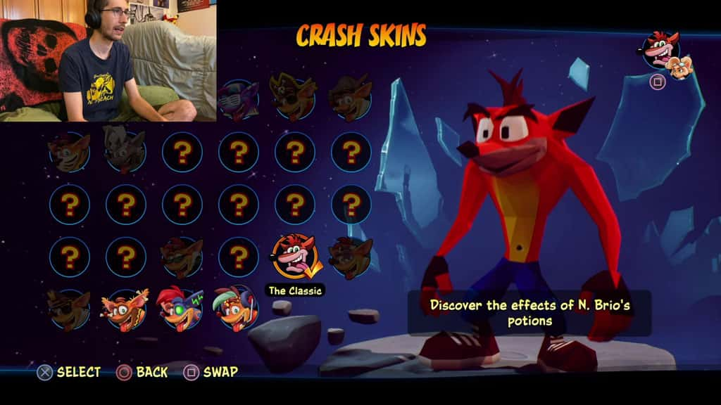 Crash 4 Skins Classic Crash