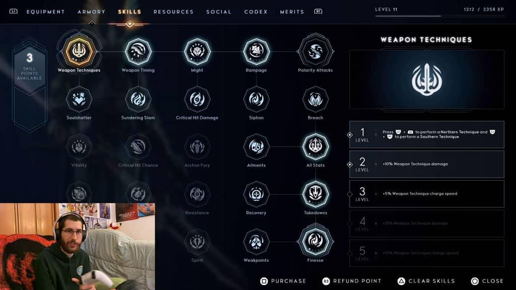 GodFall Skills Screen