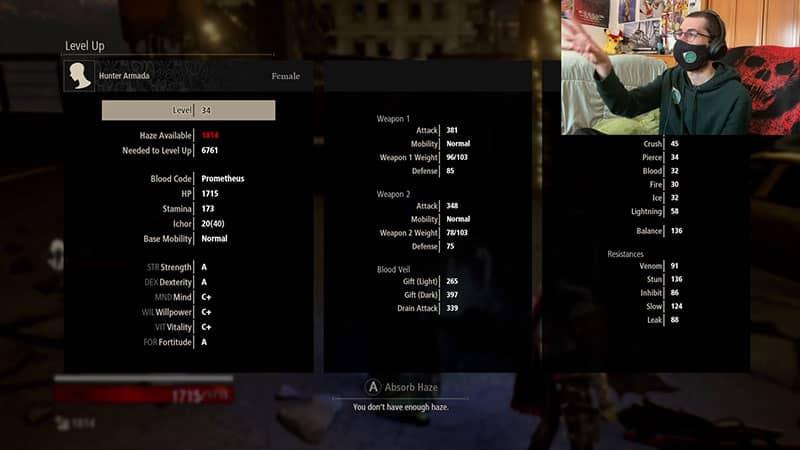 Code Vein Level Up Screen