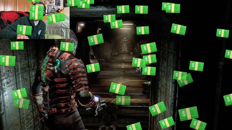 Raining Money over gameplay